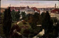 Postcard Riesa an der Elbe Sachsen, Kaiser Wilhelm Platz aus der Vogelschau