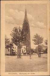 Postcard Waldniel Schwalmtal Niederrhein, Marktplatz mit Kirche