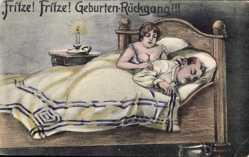 Künstler Ak Fritze, Fritze, Geburtenrückgang, Ehepaar, Bett