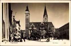 Postcard Ingolstadt an der Donau Oberbayern, Am Stein, Marktplatz, Kirche