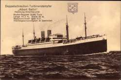 Postcard Doppelschrauben Turbinendampfer Albert Ballin der HAPAG