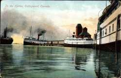 Postcard Collingwood Ontario Kanada, In the Harbor, Hafen, Dampfer