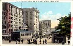Postcard Boston Massachusetts USA, Tremont Street Mall from Park Street