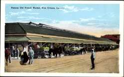 Postcard New Orleans Louisiana USA, Famous Old French Market, Markthallen