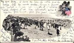 Postcard Asbury Park New Jersey USA, The Bathing Hour, Strand, Besucher