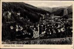 Postcard Bilstein Wiehl Sauerland, Blick vom Berg mit Kirche