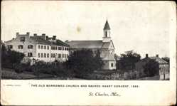 Postcard St. Charles Missouri USA, The old Borromeo Church and Sacred Heart Convent