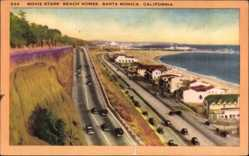 Postcard Santa Monica Kalifornien USA, Movie Star's Beach Homes
