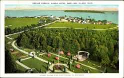 Postcard Mackinac Island Michigan USA, Terrace Garden, Grand Hotel