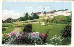 Postcard Mackinac Island Michigan USA, The Old Fort, Statue, Festung