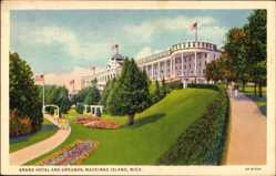 Postcard Mackinac Island Michigan USA, Grand Hotel and Grounds