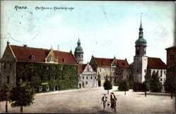 Postcard Riesa an der Elbe Sachsen, Rathaus und Klosterkirche, Radfahrer