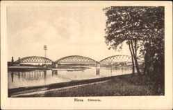 Postcard Riesa an der Elbe Sachsen, Blick rüber zur Elbbrücke