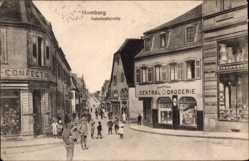 Postcard Homburg, Blick in die Bahnhofsstraße, Zentraldrogerie, Konfektionen