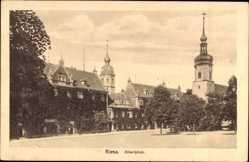 Postcard Riesa, Blick auf den Albertplatz mit Klosterkirche