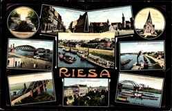 Ak Riesa an der Elbe Sachsen, Albertpark, Landungsplatz, Rathaus, Klosterkirche