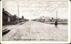 Postcard Baranawitschy Baranowitschi Weißrussland, Kaiser Wilhelm Straße, Reiter