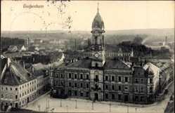 Ansichtskarte / Postkarte Großenhain in Sachsen, Straßenpartie mit Blick auf das Rathaus, Glockenturm