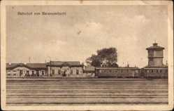 Postcard Baranowitschi Weißrussland, Blick auf den Bahnhof, Wasserturm, Gleisseite