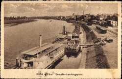 Ansichtskarte / Postkarte Riesa an der Elbe Sachsen, Dampferlandungsplatz, Salondampfer Bodenbach