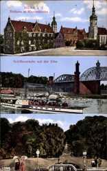 Postcard Riesa an der Elbe Sachsen, Rathaus, Klosterkirche, Dampfer Kaiser Wilhelm