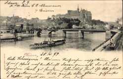 Ansichtskarte / Postkarte Meißen in Sachsen, Flusspartie, Elbdampfer Saxonia und Bohemia, Brücke