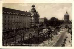 Postcard Mannheim, Augustaanlagen mit Palasthotel, Mannheimer Hof, Wasserturm