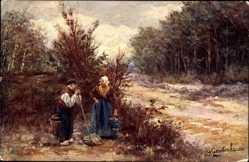 Künstler Ak Gerstenhauer, Bauernpaar im Wald, Eimer