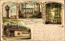 Litho Zeithain Sachsen, Truppenübungsplatz, Wasserturm, Wasserwerk, Arresthaus
