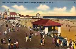 Postcard Wildwood New Jersey USA, Beach and Boardwalk looking toward
