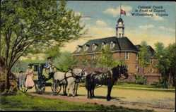 Postcard Williamsburg Virginia USA, Colonial Coach in Front of Capitol