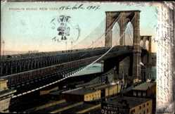Postcard New York USA, Brooklyn Bridge, Teilansicht der Brücke