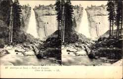 Stereo Ak Yosemite Valley Kalifornien USA, Amérique du Nord, Chute de Nevada