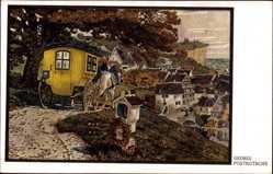 Künstler Ak Georgi, W., Postkutsche, Abfahrt in den Ort