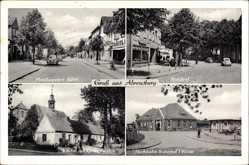 Postcard Ahrensburg im Kreis Stormarn, Manhagener Allee, Rondeel, Hochbahn Bahnhof