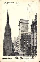 Postcard New York City, Trinity Church and American Surety Building