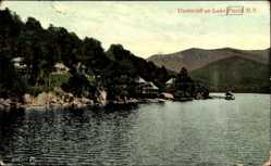 Postcard Lake Placid New York USA, Undercliff, Uferblick, Villen