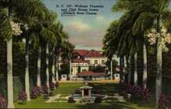Postcard Hialeah Florida USA, Race Course, Widener Fountain, Club House Lawn