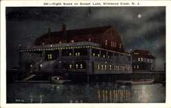 Postcard Wildwood Crest New Jersey USA, Night Scene on Sunset Lake