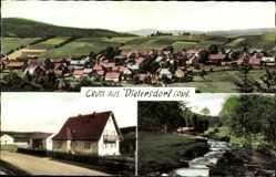Postcard Dietersdorf Oberviechtach Oberpfalz, Stadtpanorama, Haus, Flusspartie