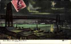 Postcard New York City, East River Bridges, Brücke über den Fluss bei Nacht