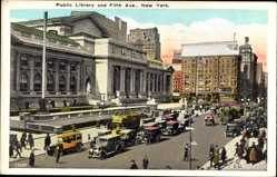 Postcard New York City USA, Public Library and Fifth Avenue