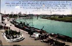 Ak Riesa an der Elbe Sachsen, Blick übe die Hafenanlagen, Frachtschiffe