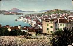 Postcard Lussinpiccolo Mali Lošinj Klein Lötzing Kroatien, Gesamtansicht, Ort, Wasser