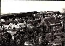 Postcard Spiesen Elversberg Saar, Totalansicht der Stadt mit Rathaus