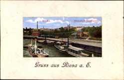 Ansichtskarte / Postkarte Riesa an der Elbe Sachsen, Blick auf den Dampfschifflandeplatz