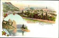 Litho Bad Kreuznach, Panoramablick, Rheingrafenstein