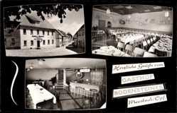 Postcard Moosbach Oberpfalz, Gasthof Hans Bodensteiner, Speisezimmer, Straßenpartie