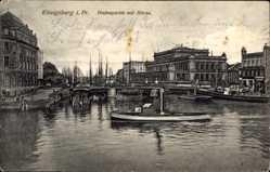 Ak Kaliningrad Königsberg Ostpreußen, Hafenpartie mit Börse