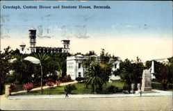 Postcard Cenotaph Bermuda, Custom House and Sessions House